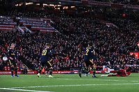 30th October 2019; Anfield, Liverpool, Merseyside, England; English Football League Cup, Carabao Cup, Liverpool versus Arsenal; Divock Origi of Liverpool levels the score at 5-5 with a right footed shot past Hector Bellerin and Shkodran Mustafi  - Strictly Editorial Use Only. No use with unauthorized audio, video, data, fixture lists, club/league logos or 'live' services. Online in-match use limited to 120 images, no video emulation. No use in betting, games or single club/league/player publications