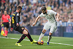 Nacho Fernandez of Real Madrid  fights for the ball with David Lopez of RCD Espanyol during the match Real Madrid vs RCD Espanyol, a La Liga match at the Santiago Bernabeu Stadium on 18 February 2017 in Madrid, Spain. Photo by Diego Gonzalez Souto / Power Sport Images