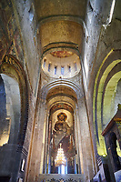 Pictures &amp; images of the interior main aisle and apse fresco depicting Christ Pantocrator. The Eastern Orthodox Georgian Svetitskhoveli Cathedral (Cathedral of the Living Pillar) , Mtskheta, Georgia (country). A UNESCO World Heritage Site.<br /> <br /> Currently the second largest church building in Georgia, Svetitskhoveli Cathedral is a masterpiece of Early Medieval architecture completed in 1029 by Georgian architect Arsukisdze on an earlier site dating back toi the 4th century.