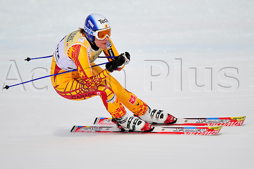 January 30, 2010: Emily Brydon of Canada during the downhill portion of the Women's FIS Ski World Cup race in St. Moritz, Switzerland. Photo: CalSports/Actionplus - Editorial Use....