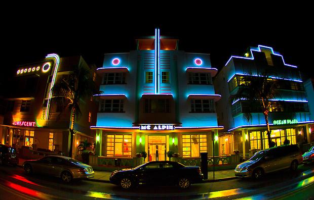 A trio of historic Art Deco hotels in Miami's South Beach.