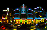 A trio of historic Art Deco hotels in Miami's South Beach.