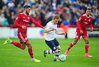 Preston North End's Daryl Horgan under pressure from Accrington Stanley's Tom Dallison<br /> <br /> Photographer Kevin Barnes/CameraSport<br /> <br /> The Carabao Cup - Accrington Stanley v Preston North End - Tuesday 8th August 2017 - Crown Ground - Accrington<br />  <br /> World Copyright &copy; 2017 CameraSport. All rights reserved. 43 Linden Ave. Countesthorpe. Leicester. England. LE8 5PG - Tel: +44 (0) 116 277 4147 - admin@camerasport.com - www.camerasport.com