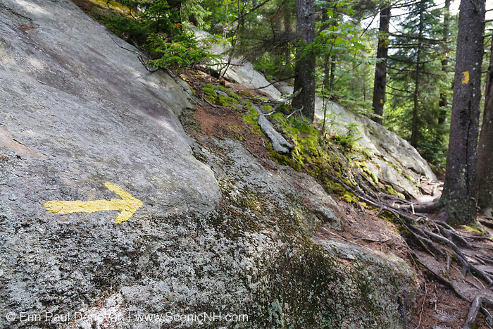 Yellow arrow spray painted on ledge points in the trail direction along the Manning Trail which climbs to the summit of Firescrew Mountain in Orange, New Hampshire USA.