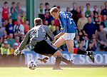 Jonatan Johansson scores past Hibs keeper at Easter Road for Rangers