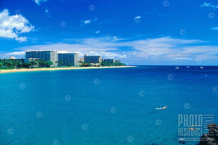 Kaanapali Beach and hotels, west coast, Maui, aerial