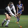 Lauren Ahrens #5 of Massapequa moves a ball upfield during the Nassau County varsity field hockey Class A final against Baldwin at Adelphi University on Saturday, Oct. 28, 2017. She scored a goal with 4:40 remaining in the second half to break a scoreless tie and lift Massapequa to a 1-0 win.