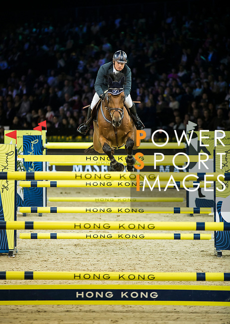 Jacqueline Lai of Hong Kong riding Basta competes in the Longines Grand Prix during the Longines Masters of Hong Kong at AsiaWorld-Expo on 11 February 2018, in Hong Kong, Hong Kong. Photo by Ian Walton / Power Sport Images