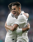 Real Madrid's Dani Ceballos (r) and Daniel Carvajal celebrate goal during La Liga match. August 19,2018. (ALTERPHOTOS/Acero)
