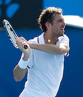 JULIEN BENNETEAU (FRA) against KEI NISHIKORI (JPN) in the third round of the Men's Singles. Kei Nishikori beat Julien Benneteau 4-6 7-6 7-6 6-3..21/01/2012, 21st January 2012, 21.01.2012..The Australian Open, Melbourne Park, Melbourne,Victoria, Australia.@AMN IMAGES, Frey, Advantage Media Network, 30, Cleveland Street, London, W1T 4JD .Tel - +44 208 947 0100..email - mfrey@advantagemedianet.com..www.amnimages.photoshelter.com.