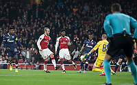 Jack Wilshere of Arsenal shot at goal is saved by Goalkeeper Milan Borjan of Crvena Zvezda (Red Star Belgrade) during the UEFA Europa League group stage match between Arsenal and FC Red Star Belgrade at the Emirates Stadium, London, England on 2 November 2017. Photo by Andy Rowland.