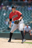 Indianapolis Indians relief pitcher Alex McRae (28) in action against the Charlotte Knights at BB&T BallPark on August 22, 2018 in Charlotte, North Carolina.  The Indians defeated the Knights 6-4 in 11 innings.  (Brian Westerholt/Four Seam Images)