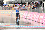 Richard Carapaz (ECU) Movistar Team crosses the finish line solo to win Stage 8 of the 2018 Giro d'Italia, running 209km from Praia a Mare to Montevergine di Mercogliano, Italy. 12th May 2018.<br /> Picture: LaPresse/Massimo Paolone | Cyclefile<br /> <br /> <br /> All photos usage must carry mandatory copyright credit (&copy; Cyclefile | LaPresse/Massimo Paolone)