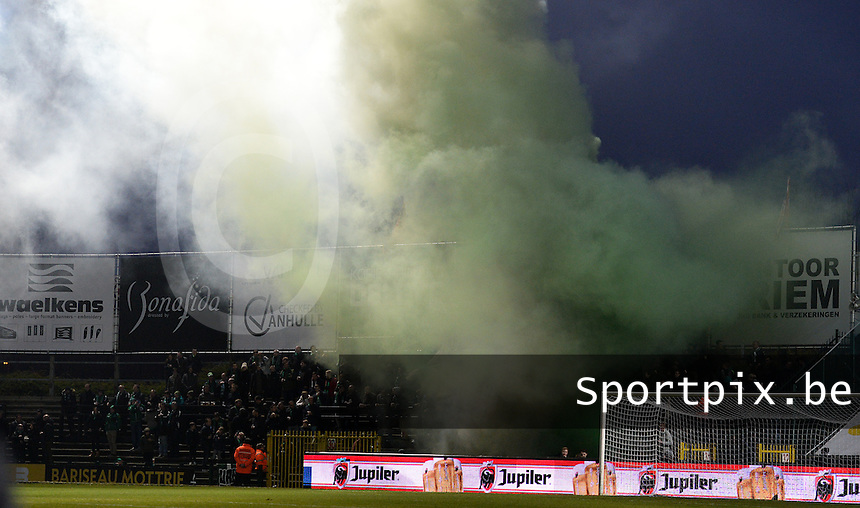 20161217 - ROESELARE , BELGIUM : Cercle Fans pictured with Smoke bombs during the Proximus League match of D1B between Roeselare and Cercle Brugge, in Roeselare, on Saturday 17 December 2016, on the day 20 of the Belgian soccer championship, division 1B. . SPORTPIX.BE | DAVID CATRY