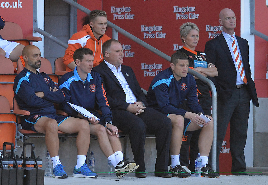 Blackpool's Manager Neil McDonald with his team in the dug outs<br /> <br /> Photographer Dave Howarth/CameraSport<br /> <br /> Football - The Football League Sky Bet League One - Blackpool v Barnsley - Saturday 19th September 2015 - Bloomfield Road - Blackpool<br /> <br /> &copy; CameraSport - 43 Linden Ave. Countesthorpe. Leicester. England. LE8 5PG - Tel: +44 (0) 116 277 4147 - admin@camerasport.com - www.camerasport.com