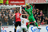 Sunday, 23 November 2012<br /> <br /> Pictured: David de Gea of Manchester United makes a save during the first half of thegame<br /> <br /> Re: Barclays Premier League, Swansea City FC v Manchester United at the Liberty Stadium, south Wales.