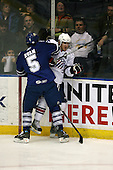 March 13, 2009:  Left Wing Karl Stewart (19) of the Rochester Amerks, AHL affiliate of the Florida Panthers, is checked by Joe Ryan (5) in the first period during a game at the Blue Cross Arena in Rochester, NY.  Toronto defeated Rochester 4-2.  Photo copyright Mike Janes Photography 2009