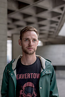 UK. London. 24th May 2018<br /> Tom Gibbons photographed at the National Theatre<br /> Andrew Testa for the New York Times