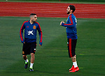 Spanish Jordi Alba and Sergio Ramos during the training of the spanish national football team in the city of football of Las Rozas in Madrid, Spain. March 18, 2019. (ALTERPHOTOS/Manu R.B.)