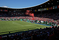 Portland, OR - Saturday April 15, 2017:  Goal celebration during a regular season National Women's Soccer League (NWSL) match between the Portland Thorns FC and the Orlando Pride at Providence Park.