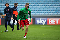 Andreas Bjelland of Brentforrd struggles with an injury in the pre-match warm up during Millwall vs Brentford, Sky Bet EFL Championship Football at The Den on 10th March 2018