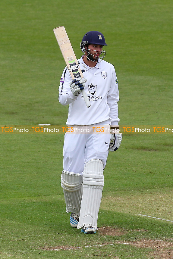 James Vince of Hampshire acknowledges reaching 150 runs for his team - Hampshire CCC vs Essex CCC - LV County Championship Division Two Cricket at the Ageas Bowl, West End, Southampton - 16/06/14 - MANDATORY CREDIT: Gavin Ellis/TGSPHOTO - Self billing applies where appropriate - 0845 094 6026 - contact@tgsphoto.co.uk - NO UNPAID USE