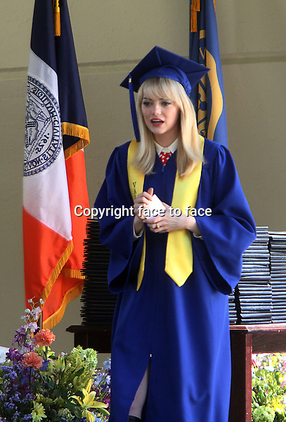 NEW YORK, NY - JUNE 1: Emma Stone as Gwen Stacy shooting graduation day scene on the set of The Amazing Spider-Man 2 in New York City. June 1, 2103. <br />