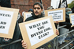 © Joel Goodman - 07973 332324 - all rights reserved . 11/11/2010 . London , UK . Siddhartha Dhar . Muslims Against Crusades hold a demonstration and burn a poppy on the anniversary of Armistice Day , at Kensington Gore , opposed by a demonstration of nationalist groups including the English Defence League ( EDL ) . Photo credit : Joel Goodman