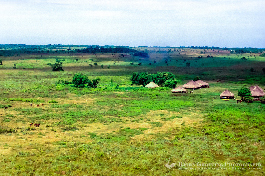 East Nusa Tenggara, Sumba. Nusa Tenggara, Sumba. A small village on top of the island plateau (from helicopter).