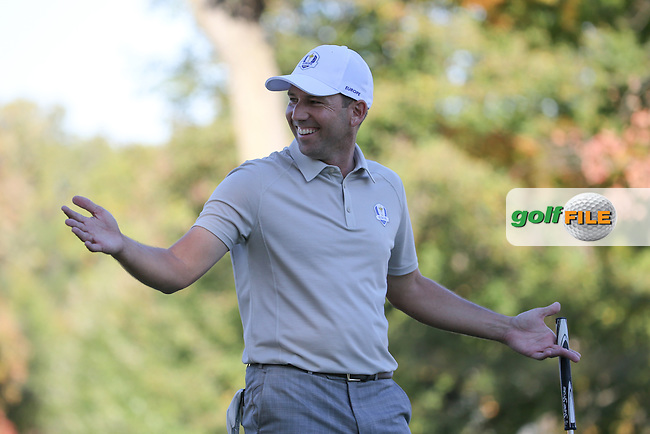 "Sergio Garcia (Team Europe) gestures ""where did that come from?"" as he wins the 12th hole during the Saturday Afternoon Four-Balls, at the 41st Ryder Cup 2016, at Hazeltine National Golf Club, Minnesota, USA.  01View of the 10th2016. Picture: David Lloyd 