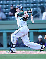 Shortstop Justin Scanlon (13) of the Michigan State Spartans in a game against the Furman Paladins on February 25, 2012, at Fluor Field in Greenville, South Carolina. (Tom Priddy/Four Seam Images)