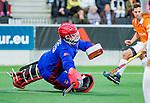 AMSTELVEEN -  keeper Philip van Leeuwen (Adam)  tijdens de play-offs hoofdklasse  heren , Amsterdam-Bloemendaal (0-2).    COPYRIGHT KOEN SUYK