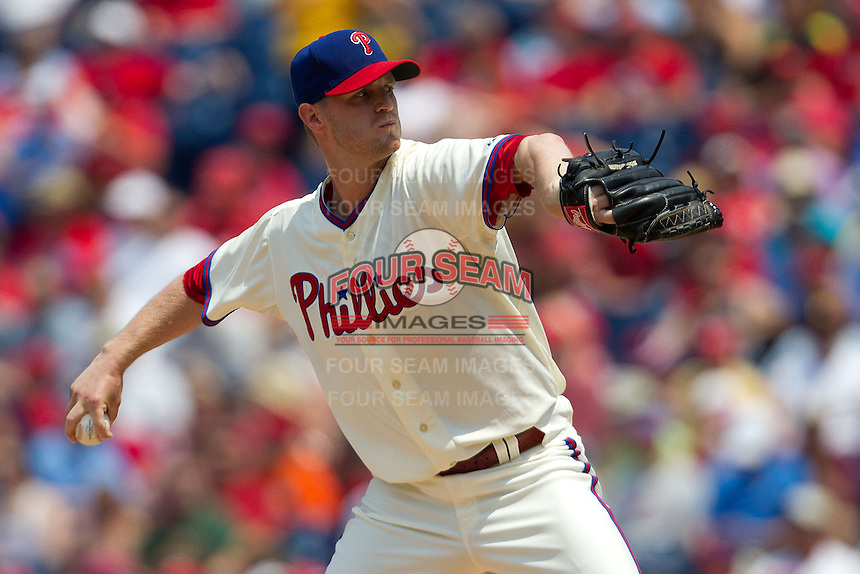 Philadelphia Phillies pitcher Kyle Kendrick #38 delviers during the Major League Baseball game against the Pittsburgh Pirates on June 28, 2012 at Citizens Bank Park in Philadelphia, Pennsylvania. The Pirates defeated the Phillies 5-4. (Andrew Woolley/Four Seam Images)...