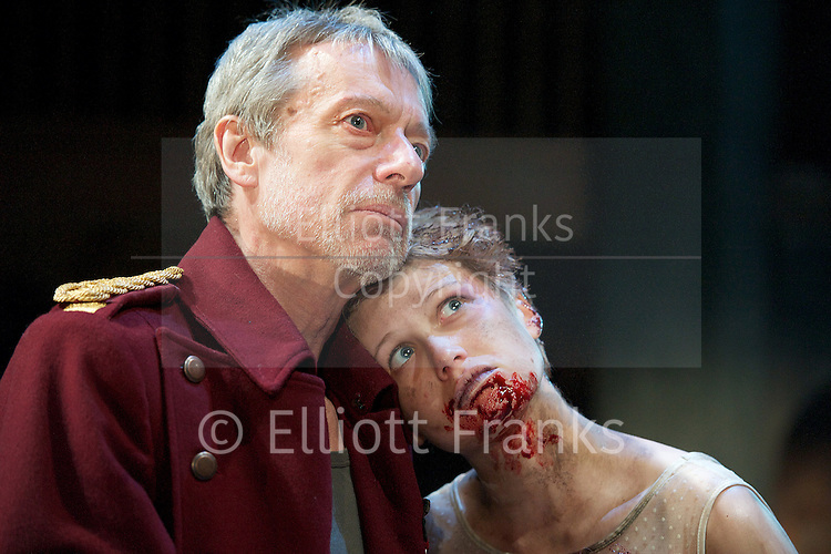 Titus Andronicus<br /> by William Shakespeare<br /> directed by Michael Fentiman <br /> at the Swan Theatre, Stratford Upon Avon <br /> Warwickshire, Great Britain <br /> press photocell<br /> 22nd May 2013 <br /> <br /> Stephen Boxer as Titus<br /> <br /> Rose Reynolds as Lavinia <br /> <br /> Matthew Needham as Lucius<br /> <br /> Richard Durden as Marcus <br /> <br /> Katy Stephens as Tamora<br /> <br /> Perry Millward as Demetrius<br /> <br /> Jonny Weldon as Chiron <br /> <br /> Photograph by Elliott Franks