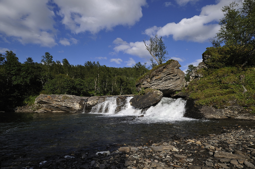 Small waterfall in summer Landscape, landskap,