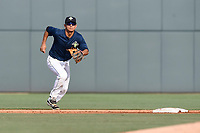 Shortstop Andres Gimenez (13) of the Columbia Fireflies plays defense in a game against the Rome Braves on Sunday, July 2, 2017, at Spirit Communications Park in Columbia, South Carolina. Columbia won, 3-2. (Tom Priddy/Four Seam Images)