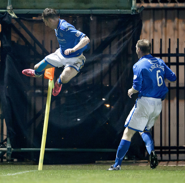 Steven Maclean celebrates his goal for St Johnstone by kicking the corner flag