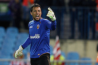 19.04.2012 MADRID, SPAIN - UEFA Europa League 11/12 Semi Finals match played between At. Madrid vs Valencia (4-2) at Vicente Calderon stadium. the picture show Diego Alves Carreira (Goalkeeper of Valencia)