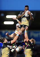 Fulgence Ouedraogo of Montpellier wins the ball at a lineout. European Rugby Challenge Cup quarter final, between Sale Sharks and Montpellier on April 8, 2016 at the AJ Bell Stadium in Manchester, England. Photo by: Patrick Khachfe / JMP