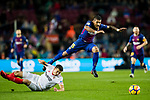 Jose Paulo Bezerra Maciel Junior, Paulinho, of FC Barcelona (top) fights for the ball with Clement Nicolas Laurent Lenglet of Sevilla FC (R) during the La Liga 2017-18 match between FC Barcelona and Sevilla FC at Camp Nou on November 04 2017 in Barcelona, Spain. Photo by Vicens Gimenez / Power Sport Images