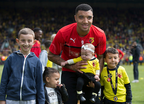 02.05.2015.  Watford, England. Skybet Championship. Watford versus Sheffield Wednesday. Watford's Troy Deeney with his family at the final whistle.