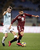 Calcio, Serie A: Roma, stadio Olimpico, 11 dicembre 2017.<br /> Torino's Tomas Rincon (r) in action with Lazio's Luis Alberto Romero (l) during the Italian Serie A football match between Lazio and Torino at Rome's Olympic stadium, December 11, 2017.<br /> UPDATE IMAGES PRESS/Isabella Bonotto