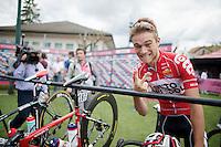 Tosh Van der Sande (BEL/Lotto-Belisol) salutes you<br /> <br /> 2014 Giro d'Italia <br /> stage 17: Sarnonico - Vittori Veneto (208km)