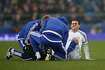 Pedro of Chelsea receives treatment for an injury during the Emirates FA Cup match at Goodison Park. Photo credit should read: Philip Oldham/Sportimage