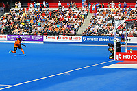 Malaysia's Faizal Saari scores from a penalty shot during the Hockey World League Semi-Final Pool A match between England and Malaysia at the Olympic Park, London, England on 17 June 2017. Photo by Steve McCarthy.
