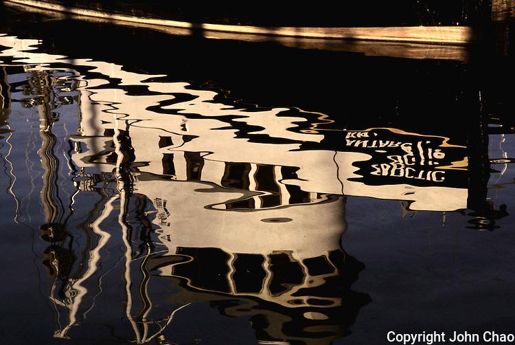 Fishing Boat Reflection at Fishermen's Terminal, Seattle, Washington State