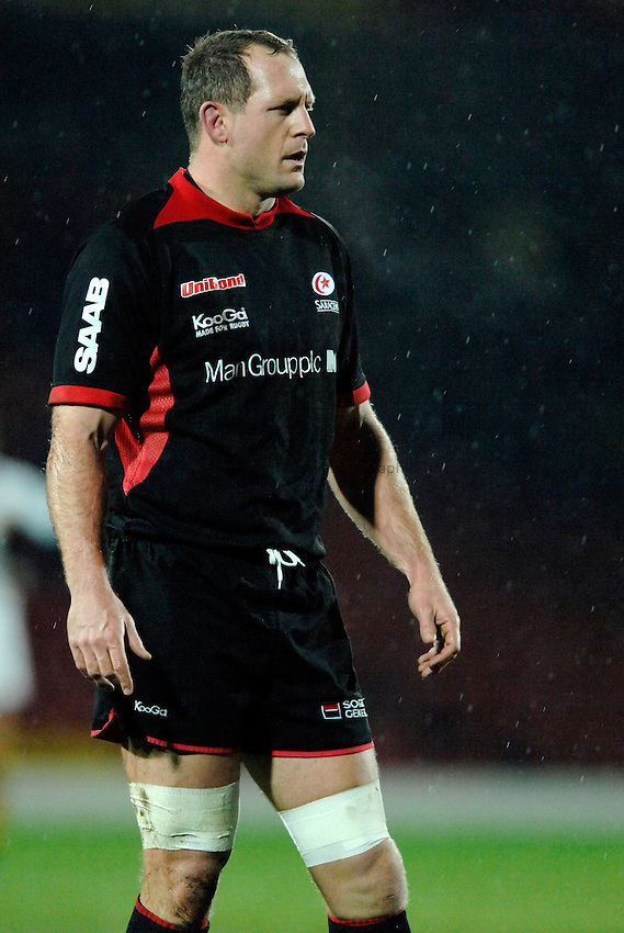 Photo: Richard Lane..Saracens v London Wasps. EDF Energy Anglo Welsh Cup. 01/12/2006. .Saracens' Richard Hill on his return from a long term injury.