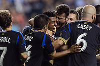 Jose Kleberson (19)u\ celebrates scoring with teammates. The Philadelphia Union defeated Toronto FC 1-0 during a Major League Soccer (MLS) match at PPL Park in Chester, PA, on October 5, 2013.