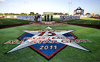 The North and South All Star teams during the National Anthem before the Texas League All Star Game played on June 29, 2011 at Nelson Wolff Stadium in San Antonio, Texas. The South All Star team defeated the North All Star team 3-2. (Andrew Woolley / Four Seam Images)