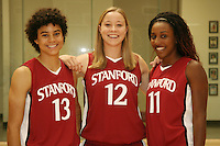 6 October 2005: Cissy Pierce, Christy Titchenal and Candice Wiggins on picture day at the Arrillaga Family Sports Center in Stanford, CA.